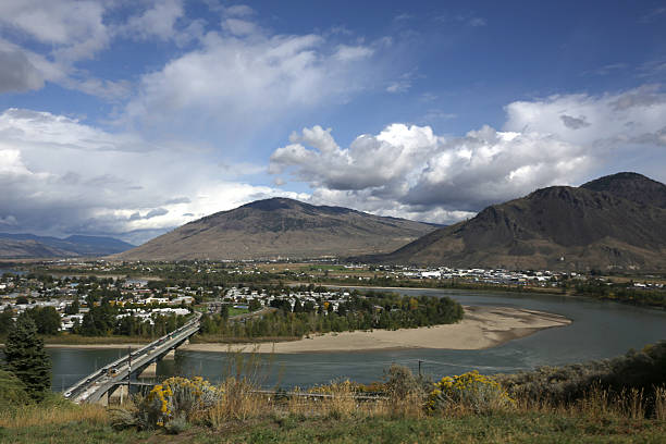 Thompson River and Overlanders Bridge, Kamloops, British Columbia, Canada stock photo