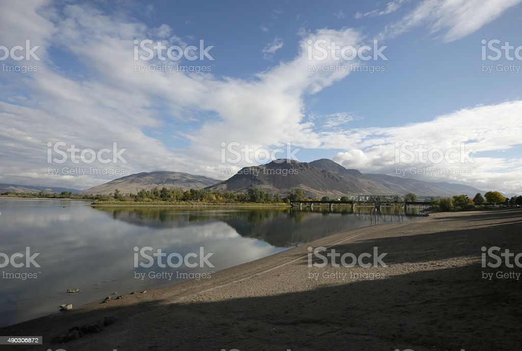 Thompson River, Kamloops, British Columbia, Canada in Autumn stock photo