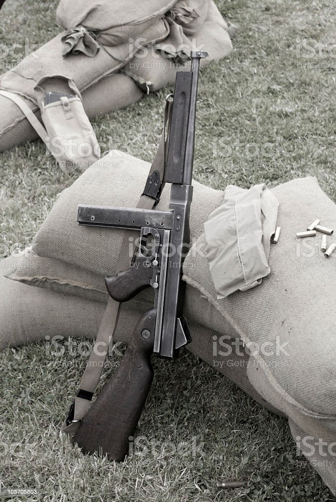 WWII U.S. Thompson submachine gun stock photo