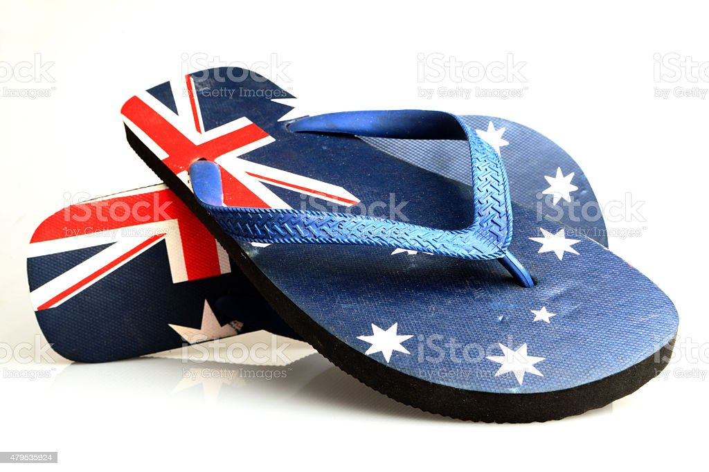 832f631ffcf5 Thongs Flipflops Or Sandals Decorated In Australian Flag Stock Photo ...