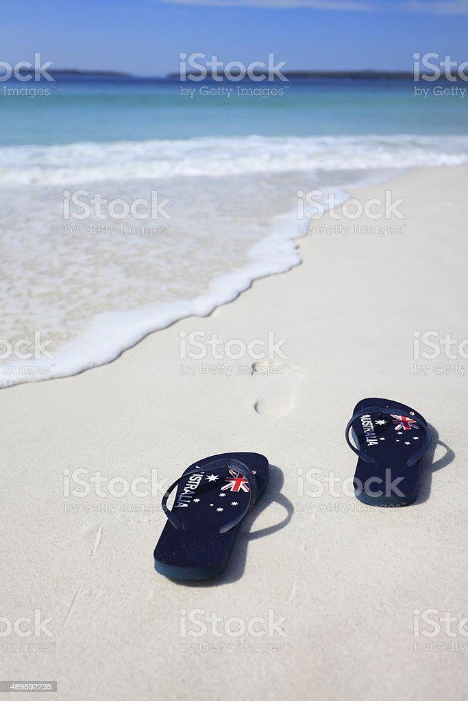 Thongs with Australian Flag on a beach royalty-free stock photo