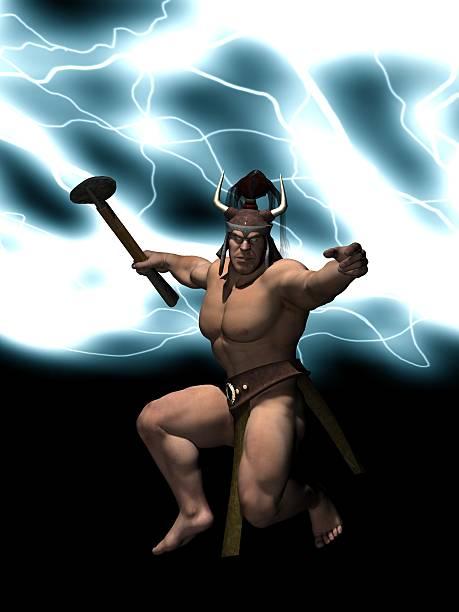 Thor god of thunder stock photo