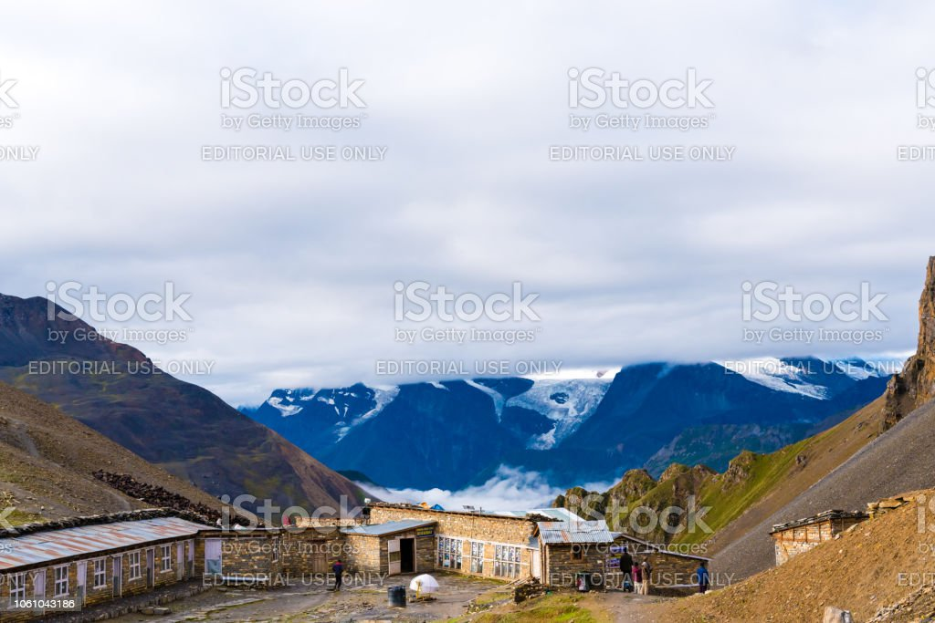 Thorang-la pass basecamp, Annapurna Conservation Area, Nepal stock photo