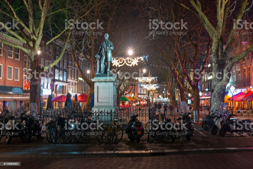 Thorbeckeplein in Amsterdam Netherlands at night stock photo