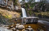 A view of Thornton Force on the Ingleton Waterfall Trail, Yorkshire Dales, England.
