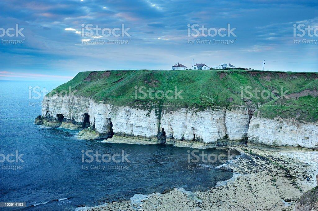 Thornwick Bay UK at dawn stock photo