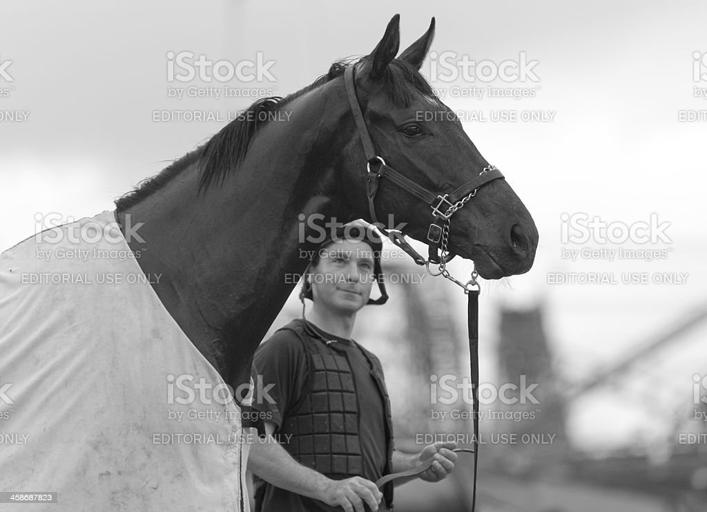 Thoroughbred Racehorse and Jockey at Hastings Racecourse, Vancouver, British Columbia stock photo