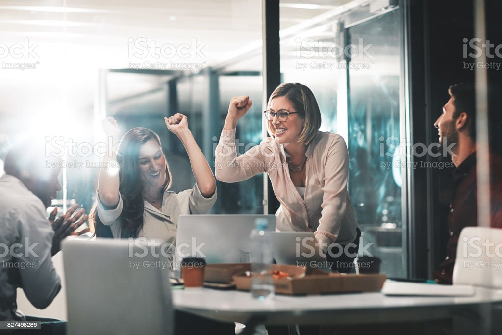 Those who work hard, win stock photo