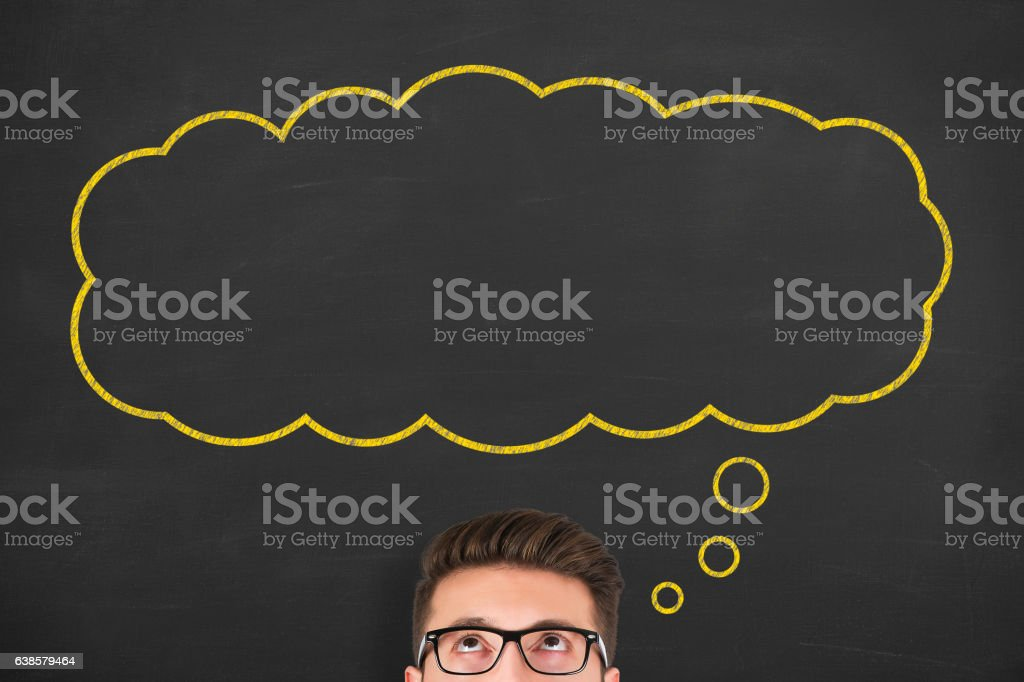 Thought bubble drawn over human head stock photo