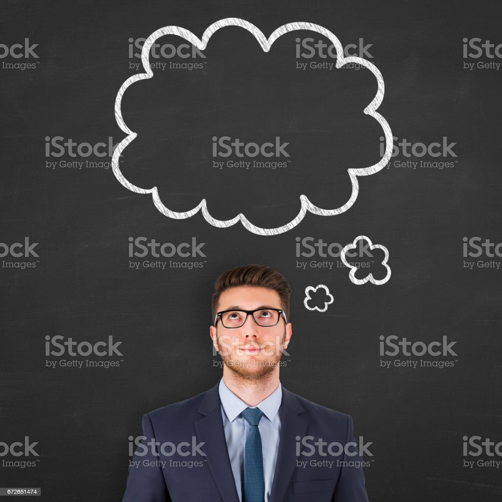Thought bubble over human head stock photo