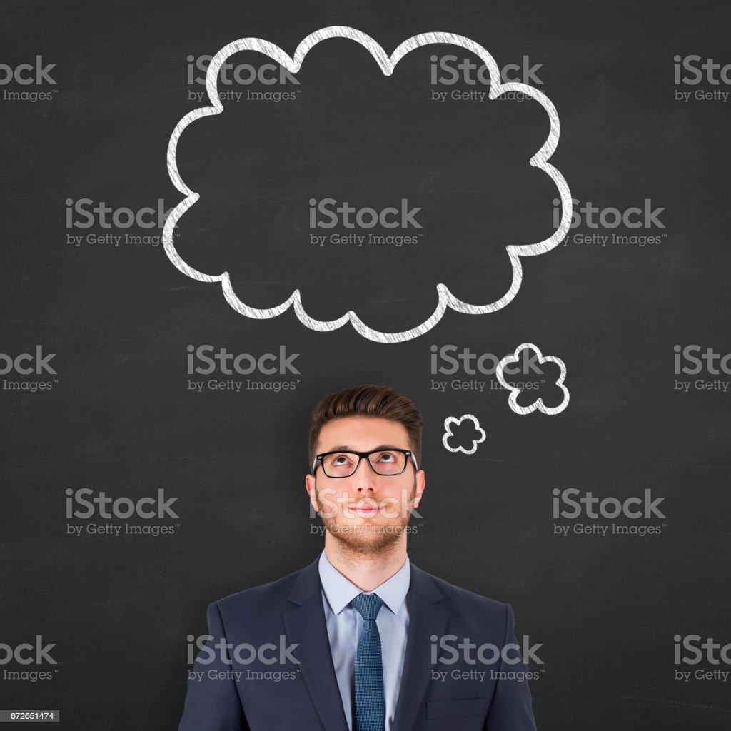 Balão de pensamento sobre a cabeça humana - foto de acervo