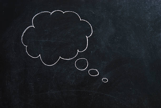 Thought Bubble A thought bubble on a blackboard thought bubble stock pictures, royalty-free photos & images