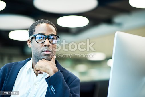 istock Thoughtful African American businessman posing 623692380