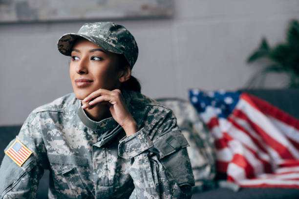 thoughtful african american soldier stock photo