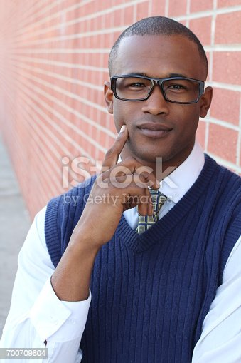 Thoughtful African businessman portrait.