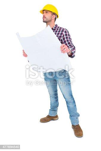 istock Thoughtful architect holding blueprint 477694540