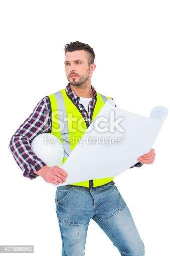 istock Thoughtful architect holding blueprint 477696342