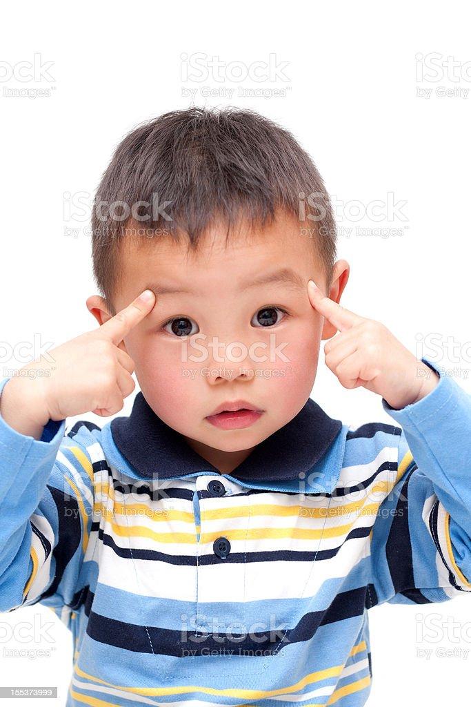 Thoughtful Asian Boy isolated on white background royalty-free stock photo