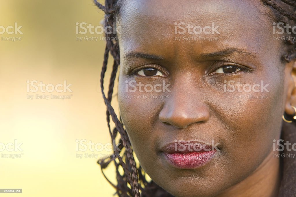 Thoughtful Beautiful African American Woman With Braids stock photo