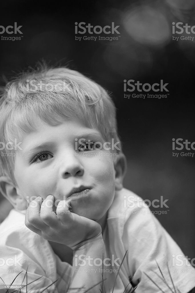 thoughtful boy royalty-free stock photo