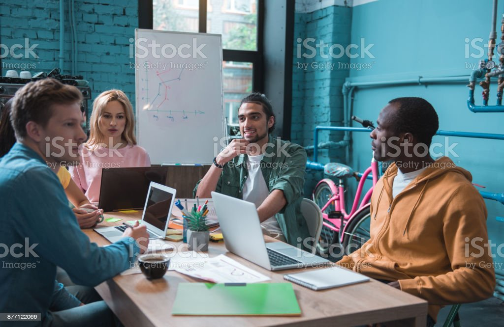Thoughtful business team working together stock photo