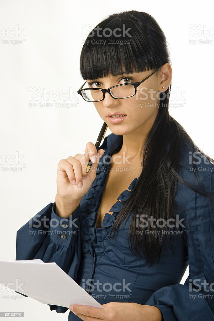 Thoughtful business woman  in glasses royalty-free stock photo