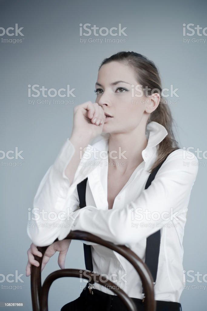 thoughtful business woman royalty-free stock photo