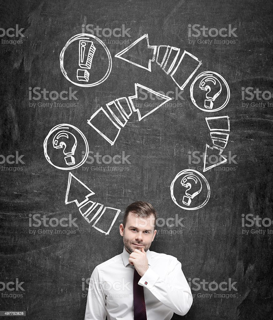 thoughtful businessman is holding his chin. stock photo