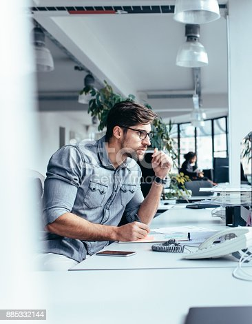 istock Thoughtful businessman looking at monitor 885332144