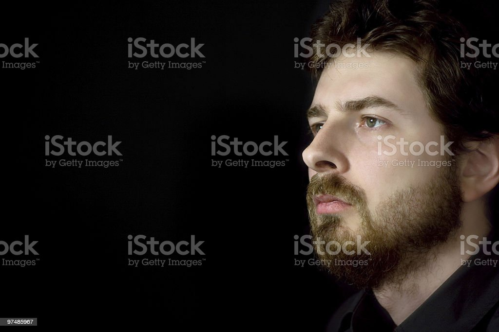 Thoughtful businessman thinking about his future royalty-free stock photo