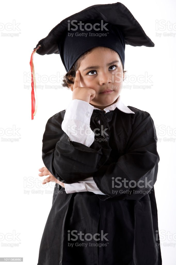 Thoughtful Girl In Graduation Gown Stock Photo & More Pictures of 4 ...