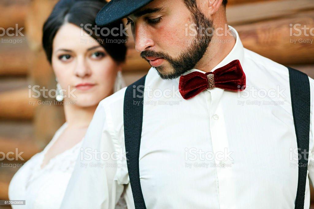 Durchdachte Brautigam In Hut Mit Bart Schnurrbart Und Fliege Und