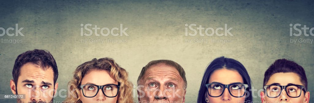 Thoughtful group of people royalty-free stock photo
