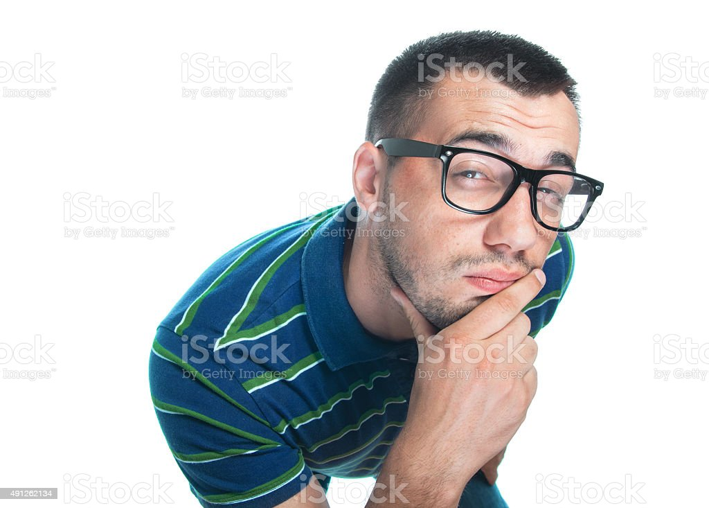 Thoughtful guy stock photo