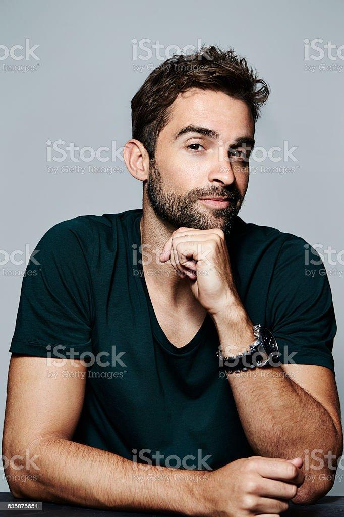 Thoughtful guy stock photo