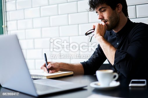 istock Thoughtful handsome international student 682869412