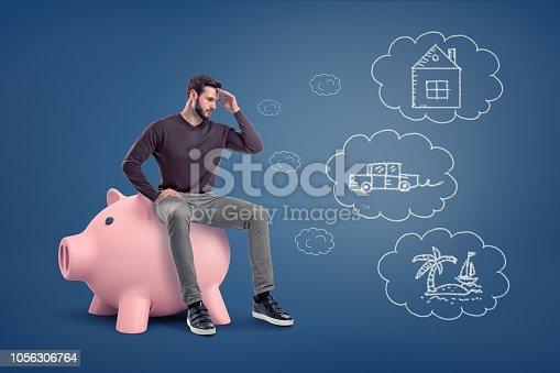 istock A thoughtful man sits on a large piggy bank near chalk drawings of a house, a car and an island. 1056306764