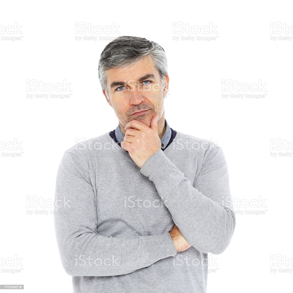 Thoughtful mature man looking at you royalty-free stock photo