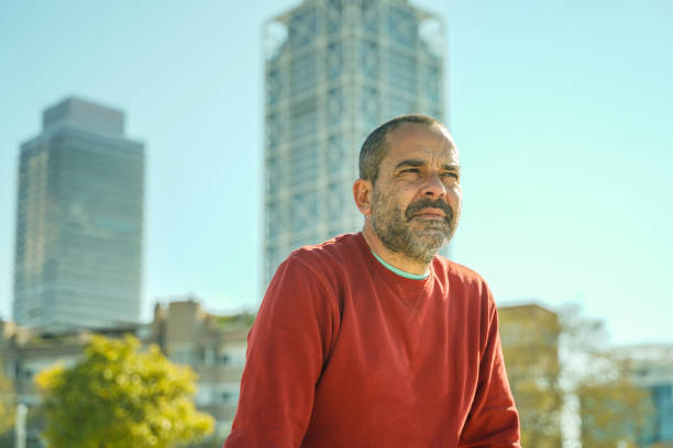 Thoughtful middle aged man in Barcelona stock photo