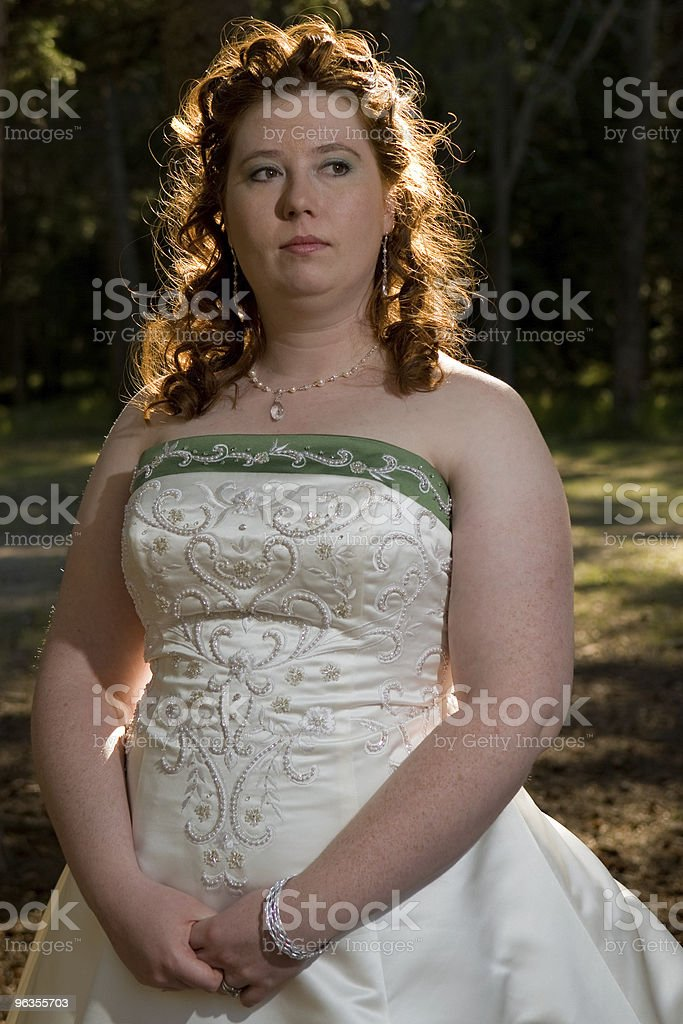 Thoughtful Redheaded Bride royalty-free stock photo