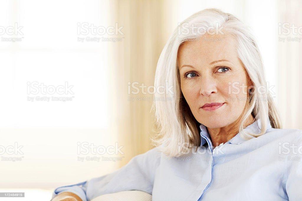 Thoughtful Senior Woman stock photo