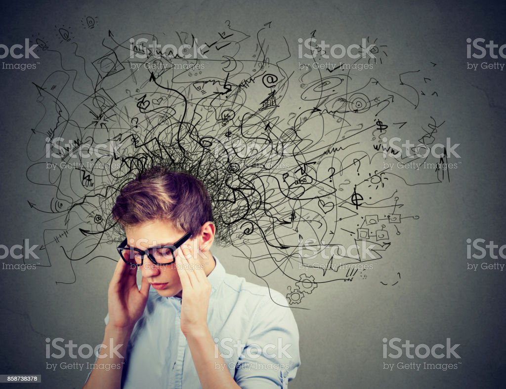 Thoughtful stressed man with a mess in his head – zdjęcie