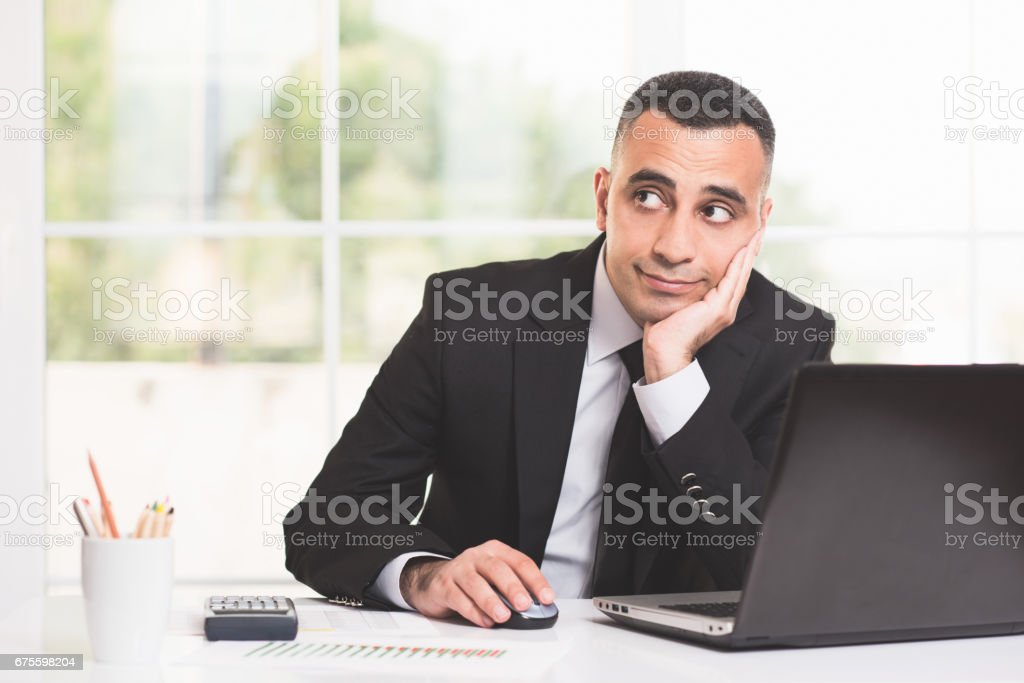 Thoughtful Young Businessman Portrait photo libre de droits