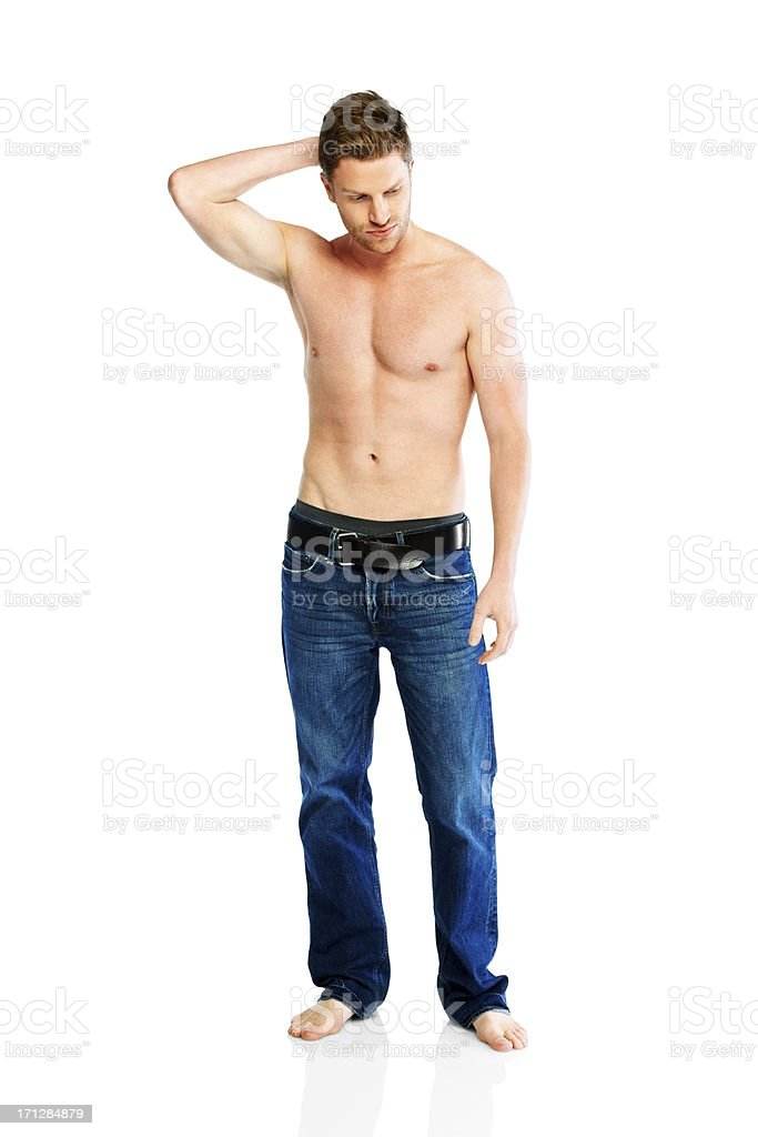 Thoughtful young guy with nice body royalty-free stock photo