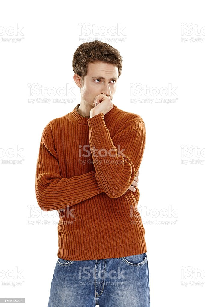 Thoughtful young man looking away on white royalty-free stock photo