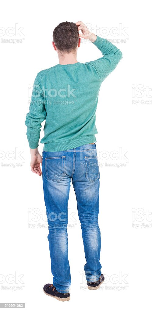 thoughtful young man. stock photo