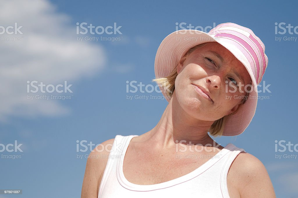 Thoughtful young woman in summer holidays royalty-free stock photo