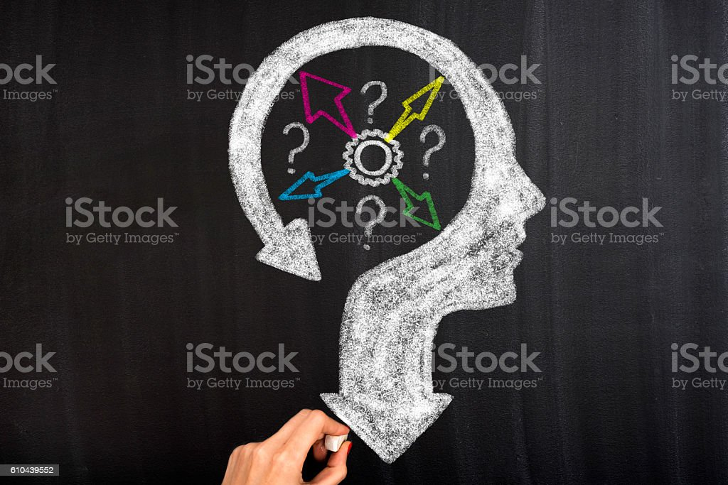 Thoughts and options head with arrows stock photo