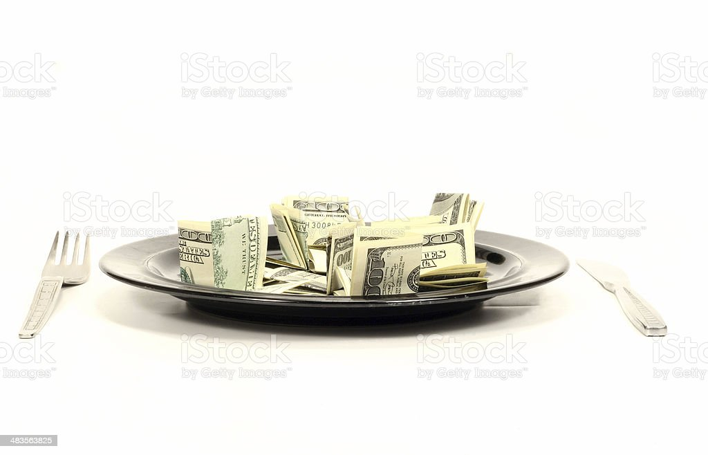 Thousand dollars meal stock photo