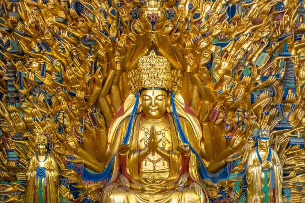 A thousand hands guanyin bodhisattva The thousand-hand audio-visual image in dazu rock carvings in chongqing, China bodhisattva stock pictures, royalty-free photos & images